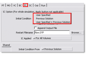 Restart Options Under the Initial Condition (IC) Tab