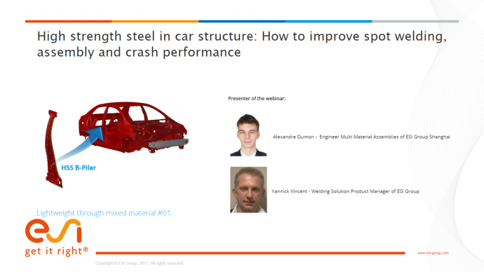 High strength steel in car structure: How to improve spot welding, assembly and crash performance