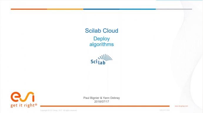 Deploy Algorithms on Scilab Cloud